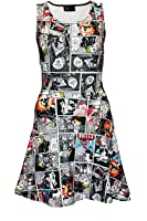 Comic Strip Book Retro Classic Print Sleeveless Skater Dress