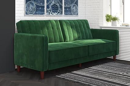 DHP 2164979 Ivana Tufted Futon, Green Velvet: Amazon.co.uk