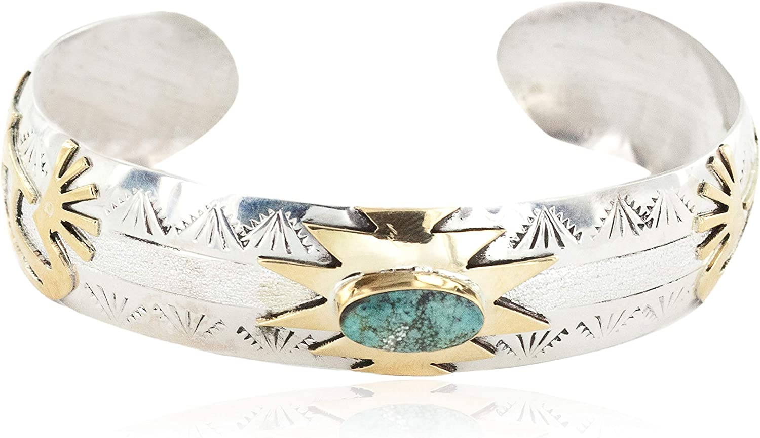 $510Tag 12Ktgf Silver Certified Kokopelli Navajo Turquoise #8 Native Bracelet 12966-8 gemacht durch Loma Siiva