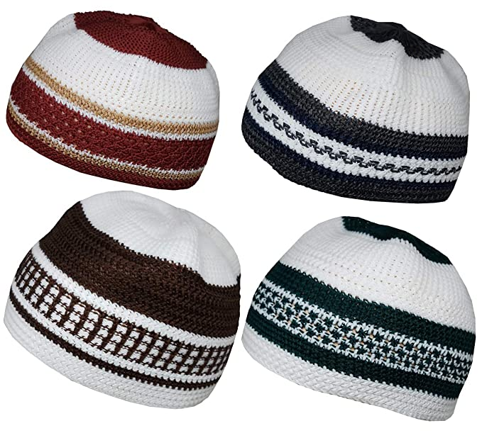 6beea98b1d8 Amazon.com  Set 4 Muslim Beanie Skull Cap Islam Kufi Topi Prayer Hat  Crochet Taqiyah Takke  Clothing