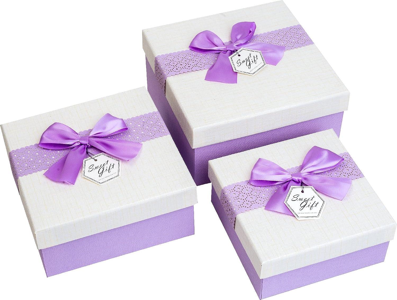 Emartbuy Set di 3 Lusso Rigido Quadrato Confezione Regalo di Presentazione, Scatola Rosa Con Coperchio Ombroso, Interiore Marrone Cioccolato E Nastro Decorativo