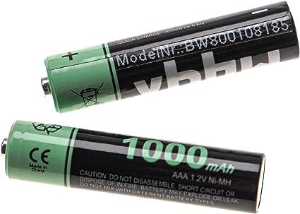 Vhbw 2x Ni Mh 1000mah Wiederaufladbare Akkus Batterien Elektronik