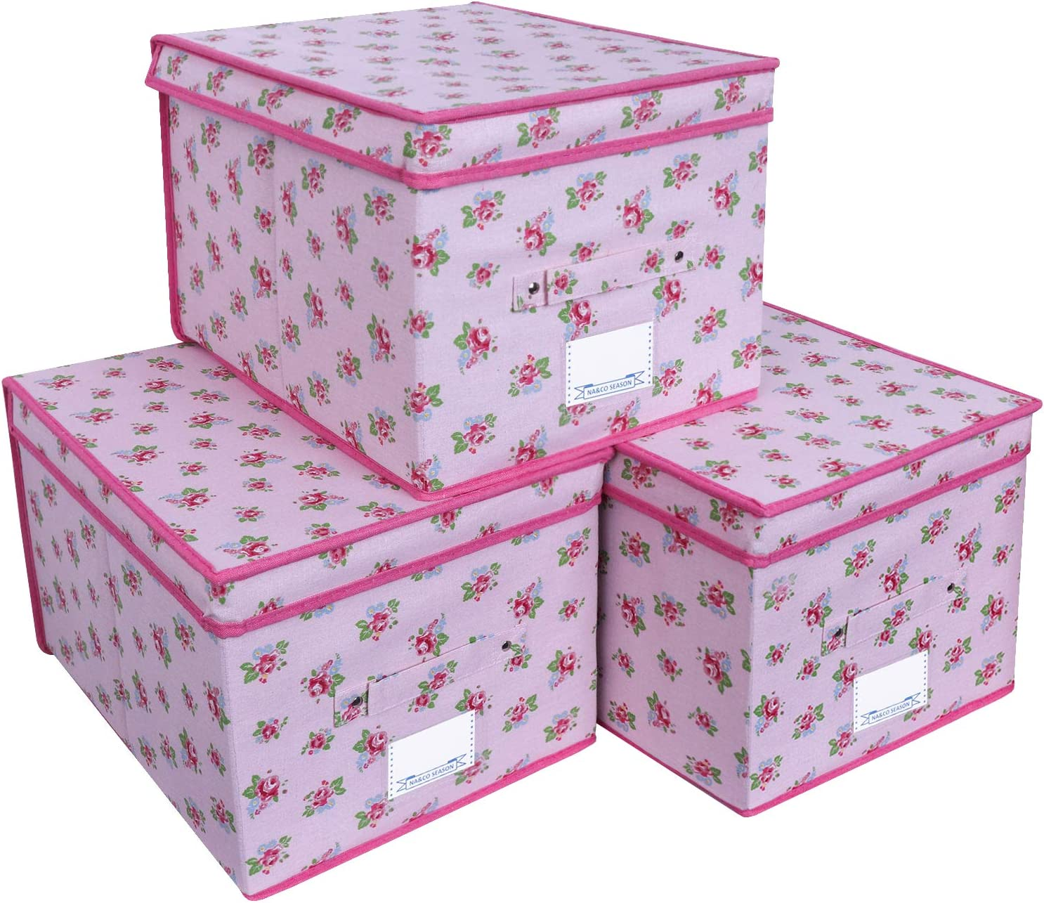 NA&CO SEASON 3 Pack Large Sturdy Foldable Storage Bins, Polyester Fabric Storage Boxes with Lids and Handle,Containers Organizer for Home, Nursery, Closet, Office