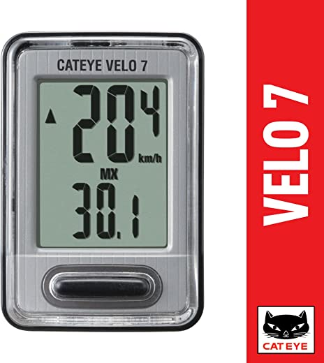 CAT EYE, Velo 7 Wired Bike Computer with Odometer and Speedometer