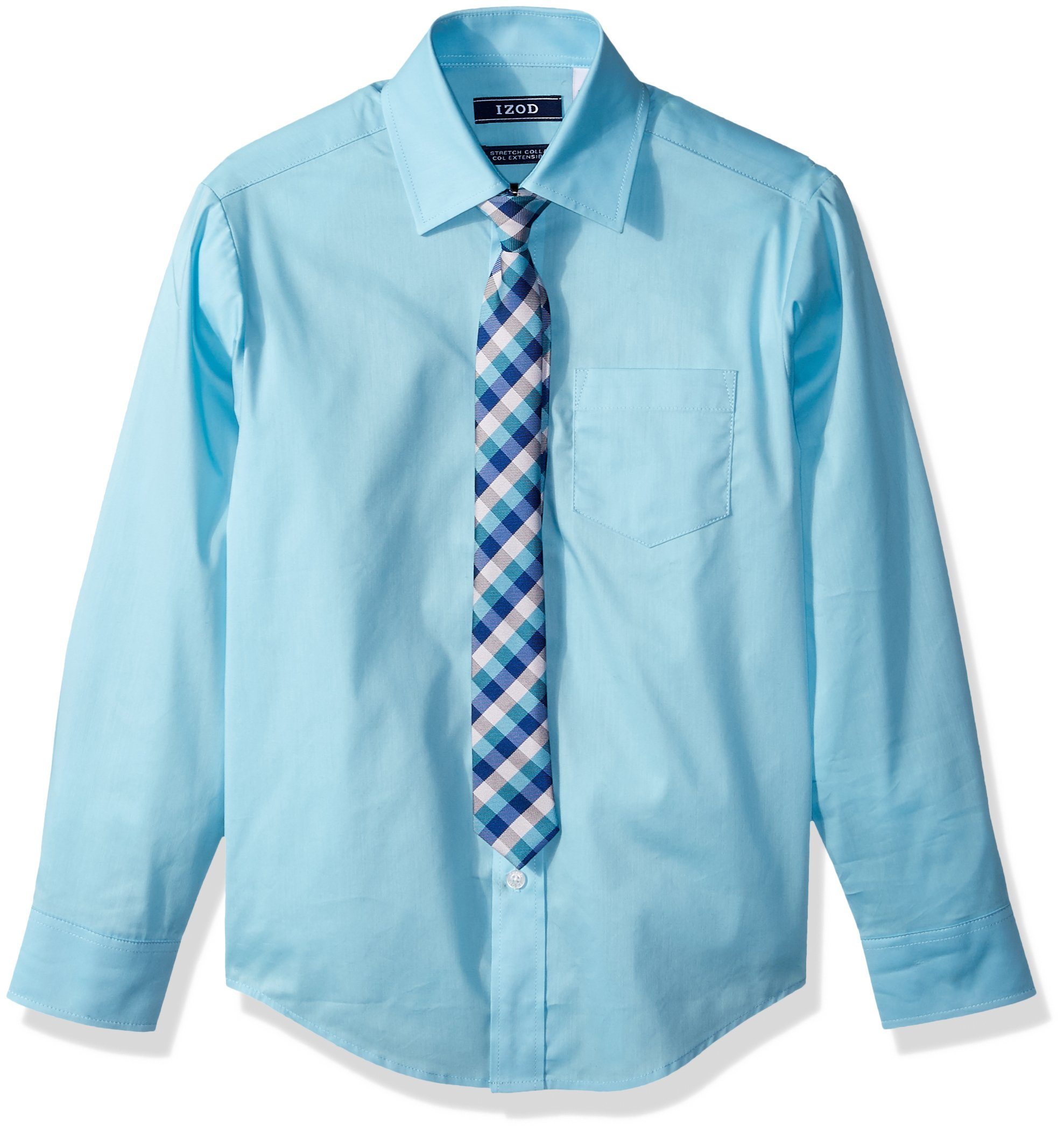 IZOD Big Boys' Dress Shirt and Tie Set, Nafpak Blue, 12