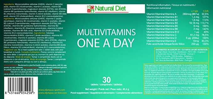 Multivitaminico One A Day - Tamaño - 30 Comps.: Amazon.es: Salud y ...