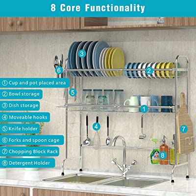 Large Stainless Steel Dish Organizer Racks Cambond Over The Sink Dish Drying Rack Non Slip Sink Dish Drainer Shelf With Utensils Holder For Kitchen Counter Dish Racks Countertop Wall Organization Fcteutonia05 De