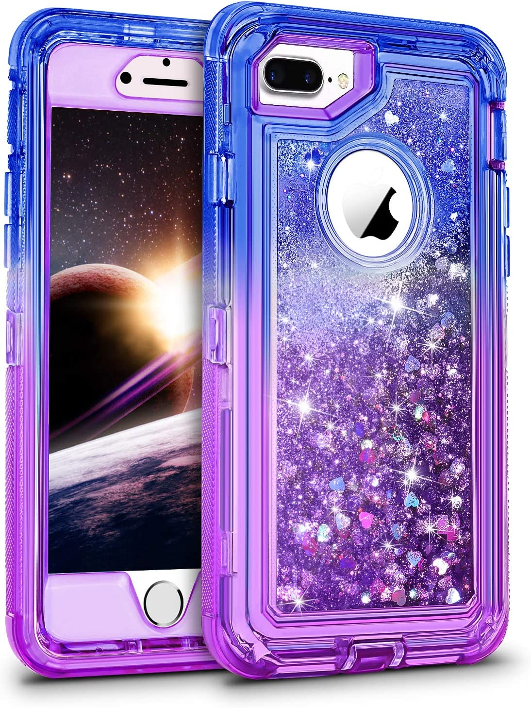 WESADN Case for iPhone 8 Plus Case,iPhone 7 Plus Case for Girls Women Cute Glitter Liquid Protective Bling Heavy Duty Shockproof Gradient Cover for ...