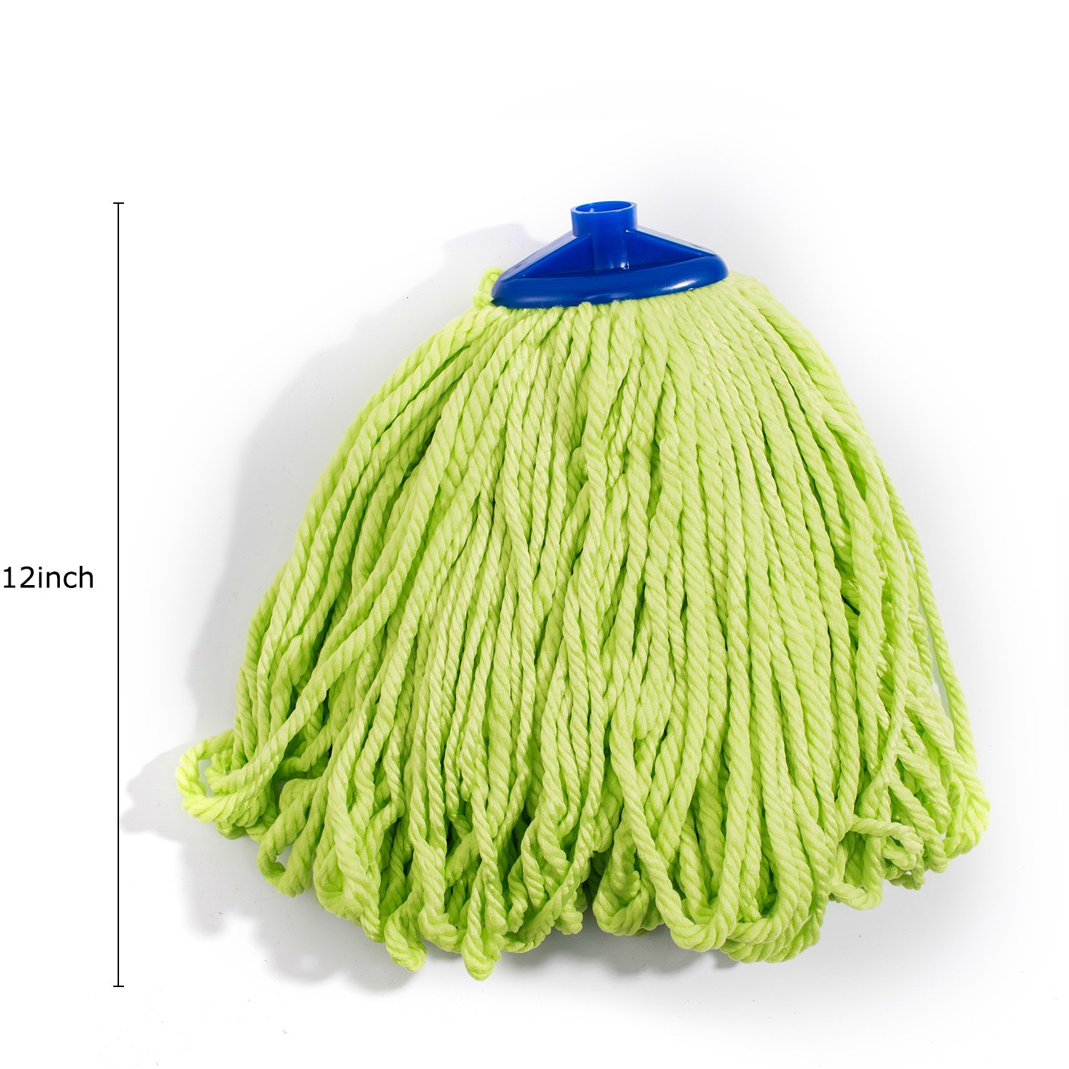 QIPENG 12'' Professional Microfiber Mop Head 4 Pack, Washable Wet and Dry Mop Heads, Super Absorbent Mop (Green) by QIPENG (Image #2)