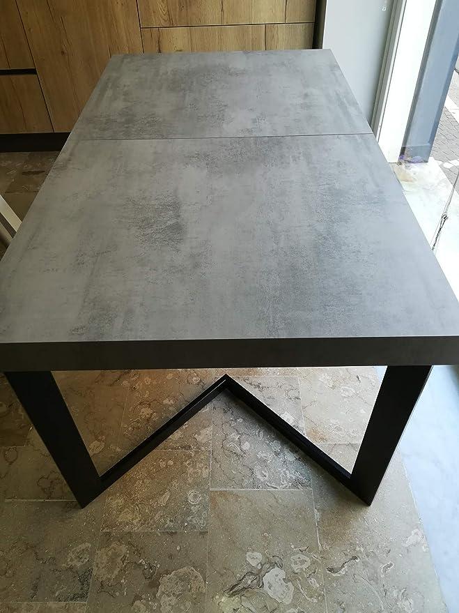 Mesa extensible con tablero de melamina - Base de metal y patas de hierro - Color plano: cemento - Color estructura y patas: negro mate - Medidas mesa cerrada: 160 x 90 x 75 (280 abierto);: Amazon.es: Hogar