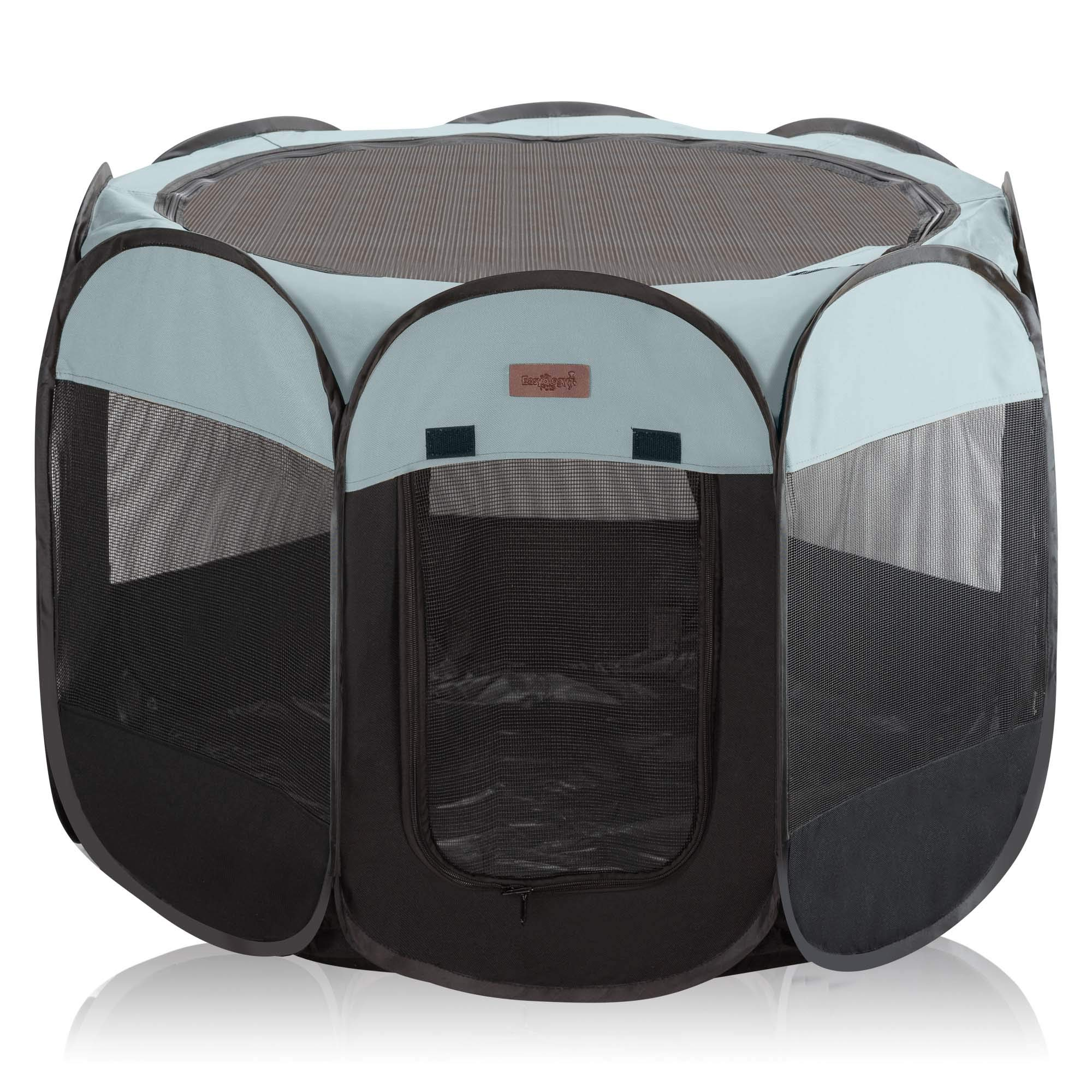 Pet Playpen for Indoor Cats and Small Dogs - 23'' Tall x 30'' Wide - Claw-Proof Mesh, Thick Zippered Foldable Pet Playpen - Travel Cat Kennel/Cat Crate with 10 Second Setup - Animal Playpen (Slate Gray)