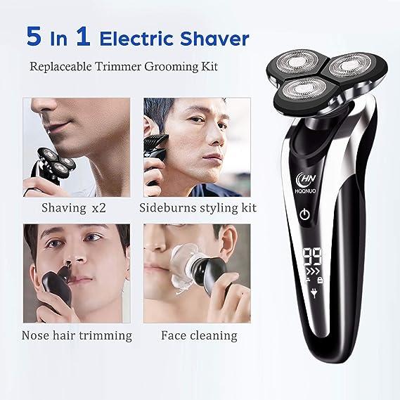 Afeitadora Eléctrica Rotativa para Hombre, 5 en 1 Máquina de ...