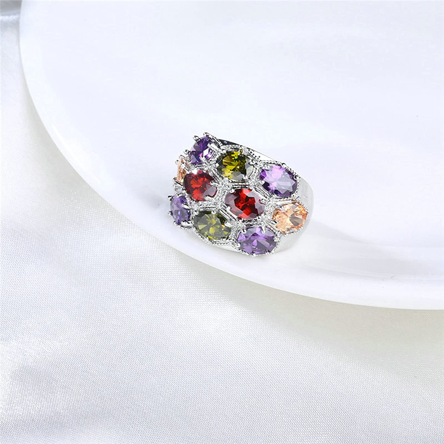 ANAZOZ Gold Plated Colorful Cubic Zirconia Wedding Ring Band Women