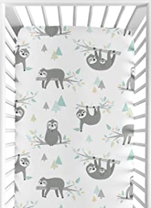 Sweet Jojo Designs Blue and Grey Jungle Sloth Leaf Unisex Boy or Girl Baby or Toddler Nursery Fitted Crib Sheet - Turquoise, Gray and Green Botanical Rainforest