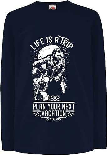 lepni.me Camiseta para Niño/Niña la Vida es un Viaje - Ideas de Regalos para Moteros, diseño gráfico de Bicicletas Vintage, amar Las Motocicletas: Amazon.es: Ropa y accesorios