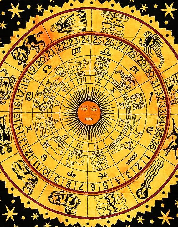 Indian Craft Castle ICC Tapisserie Murale Zodiaque Horoscope Indien Astrologie Hippie Hippie Murale d/écoration de dortoir psych/éd/élique boh/émien Double literie 20,3 x 139,7 cm Violet