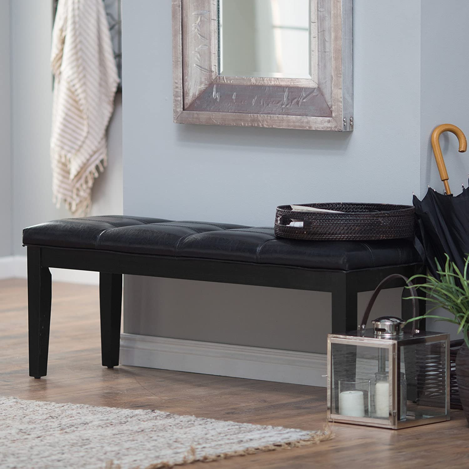 Amazon.com : Traditional Bench With Cushion - Backless Armless ...