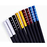 Non-toxic melamine Chinese chopsticks. Reusable, dishwasher safe. Set of 5 colors: black with silver, gold, blue, and red metal bands. Luxury quality