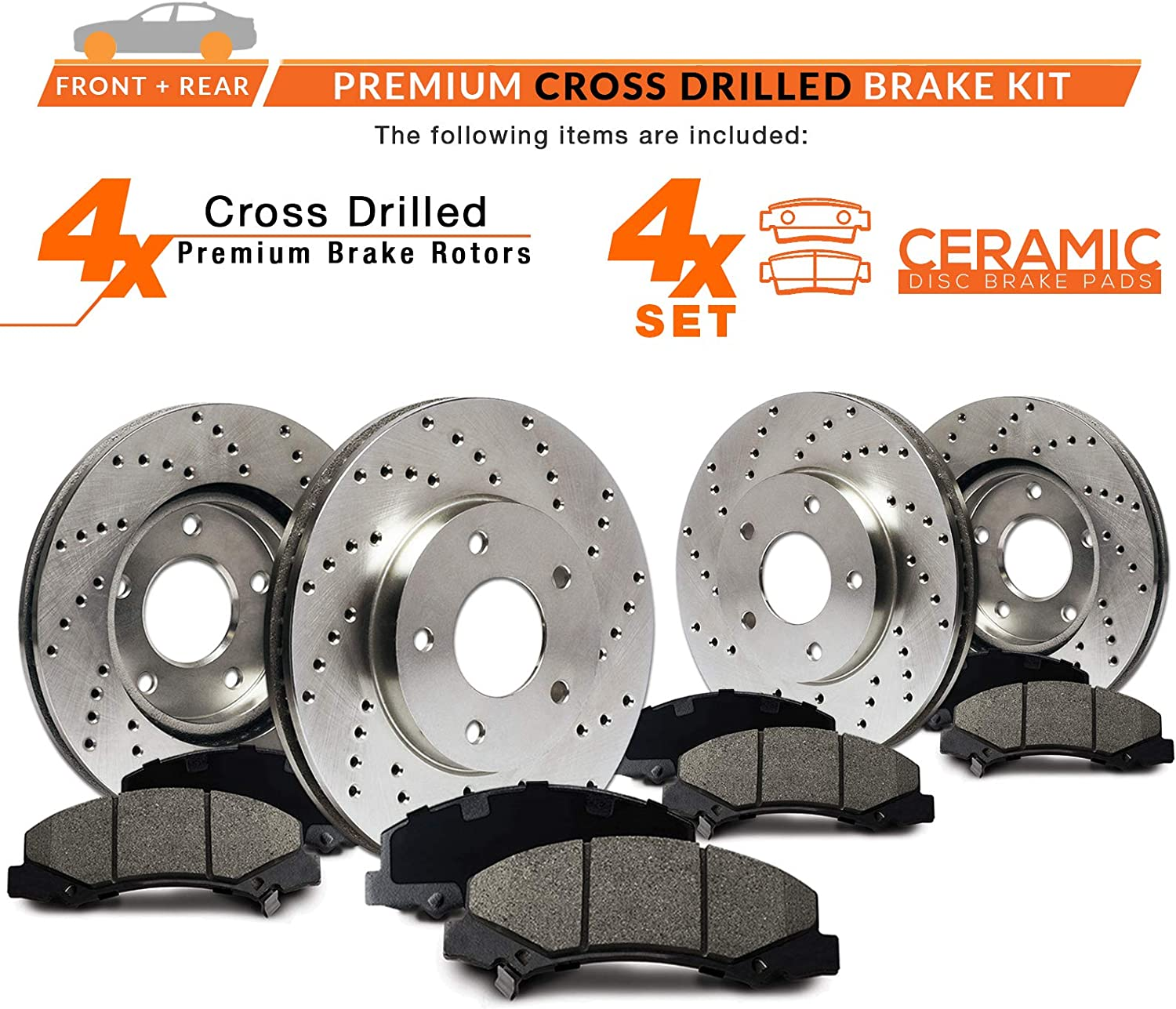 KT007523 Premium Cross Drilled Rotors + Ceramic Pads Fits: 2006 06 Nissan Altima; Non SE-R Models Max Brakes Front /& Rear Performance Brake Kit