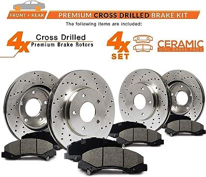 Max Brakes Front /& Rear Premium Brake Kit KT032843 OE Series Rotors + Ceramic Pads Fits: 2011 11 2012 12 Nissan Murano LE//S//SL//SV Models