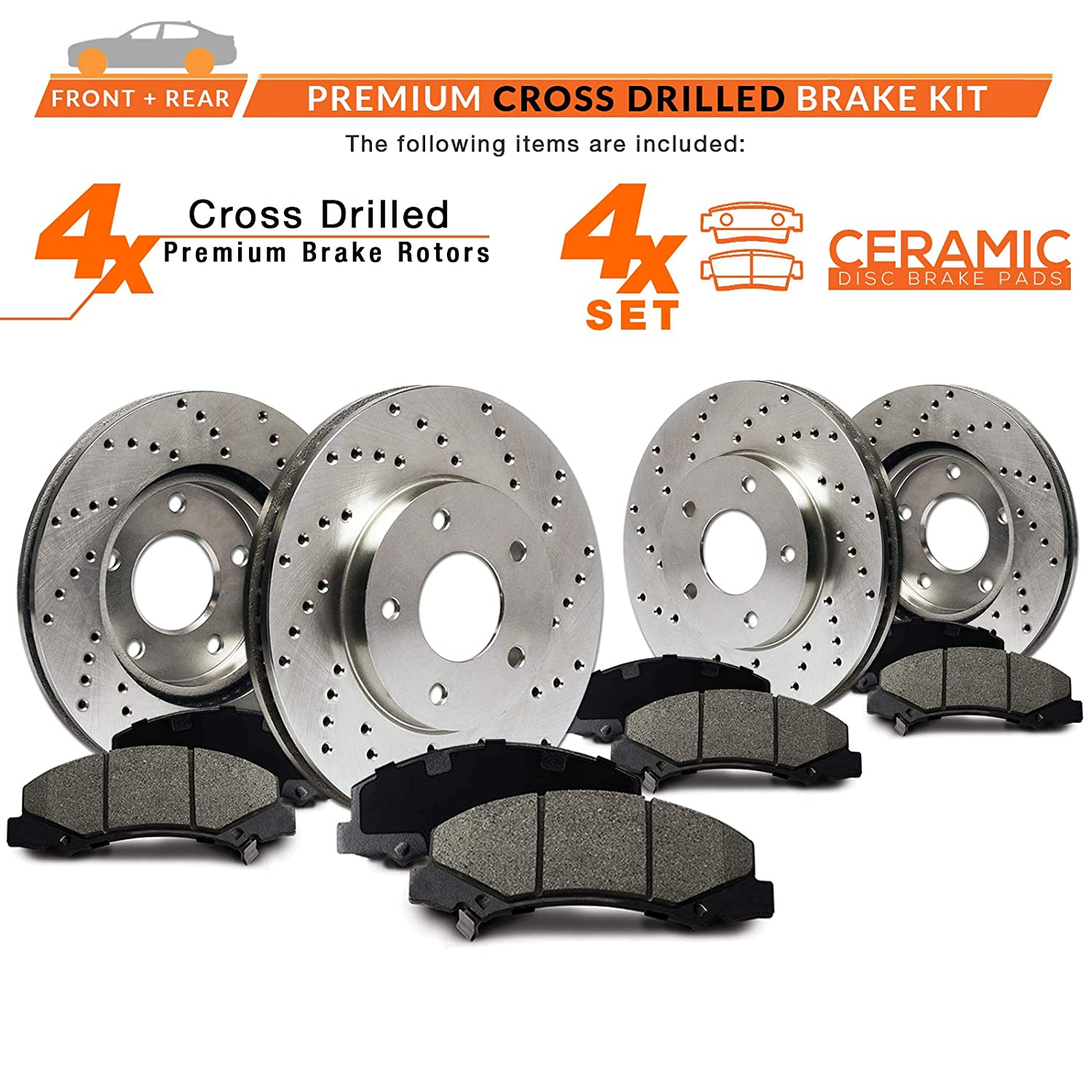 Premium Cross Drilled Rotors + Ceramic Pads KT035723 Fits Max Brakes Front /& Rear Performance Brake Kit 2004-2015 Nissan Quest