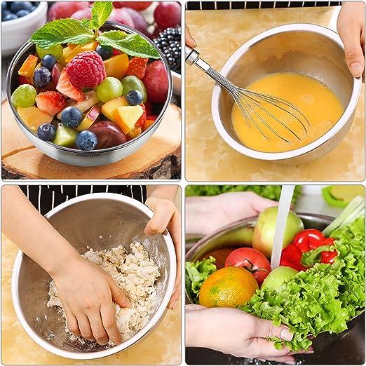 Esyhomi Lot de 5 saladiers empilables en acier inoxydable avec couvercle herm/étique et fond en silicone pour la cuisine