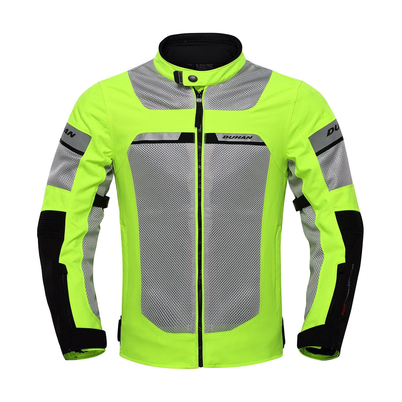 DUHAN メンズ バイク レース ジャケット 春夏用 吸汗速乾  防風 通気 プロテクター装備 M 緑 B074CWXN4R
