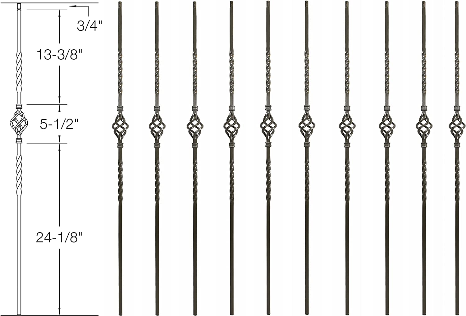 Box of 10 1//2 Square Pewter Gray 44 Tall Hollow Iron Balusters Single Knuckle