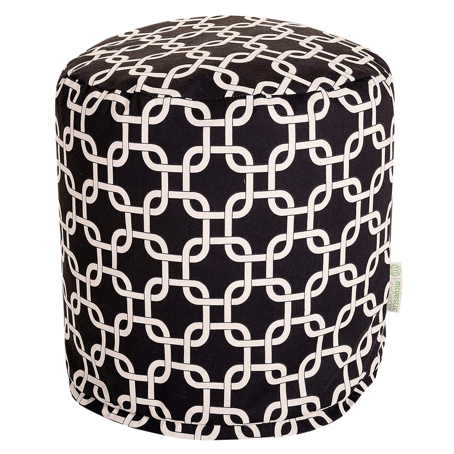 Majestic Home Goods Black Links Indoor/Outdoor Bean Bag Ottoman Pouf 16'' L x 16'' W x 17'' H