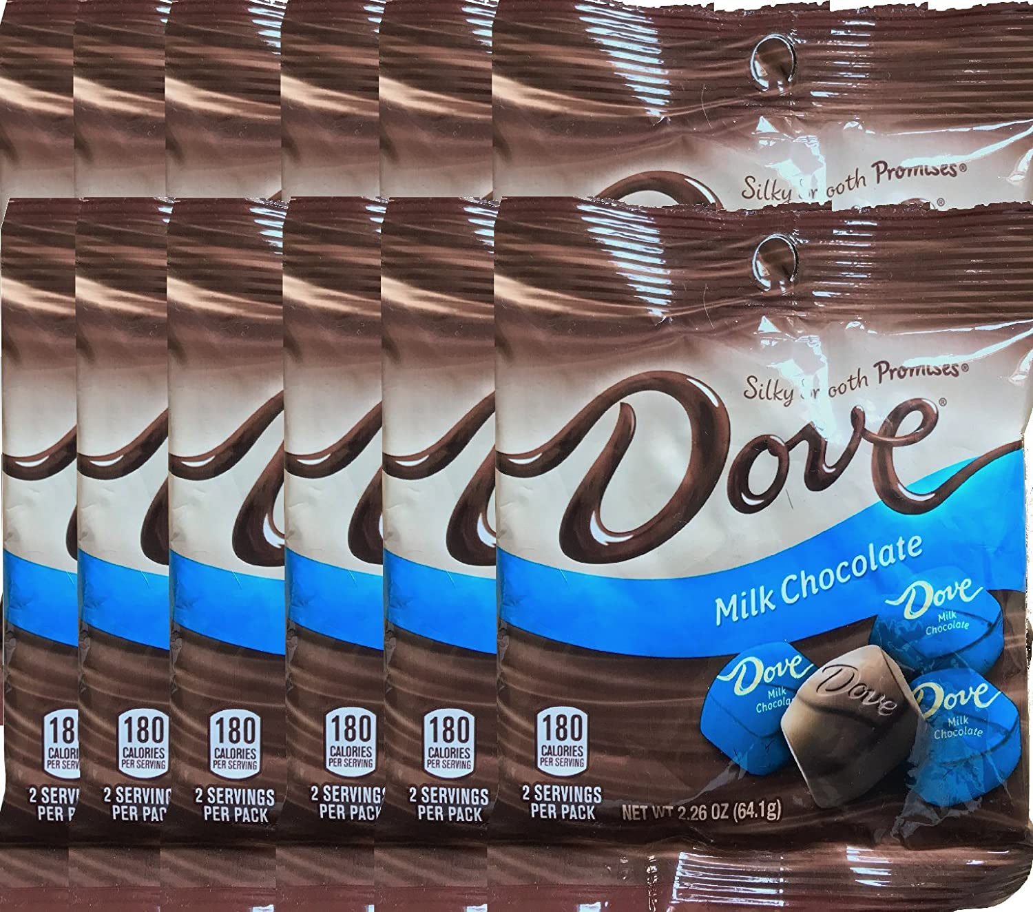 Dove Milk Chocolate Silky Smooth Promises Mini Party Favor Candy Bags Net Wt 2.26 Oz (12)
