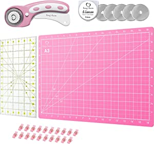 Rotary Cutter Set Pink - Quilting Kit incl. 45mm Fabric Cutter, 5 Replacement Blades, A3 Cutting Mat, Acrylic Ruler and Craft Clips - Ideal for Crafting, Sewing, Patchworking, Crochet & Knitting