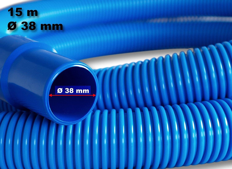 15m - 38mm - Tuyau de piscine Eva flex Pool avec raccord collé 250g/m, bleu - Made in Europe WilTec