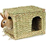 SunGrow Grass House, 11.8x7.8x9 Inches, Folding Woven Hut for Laying or Sleeping, Edible Chew Home, Multi-Utility Toy…