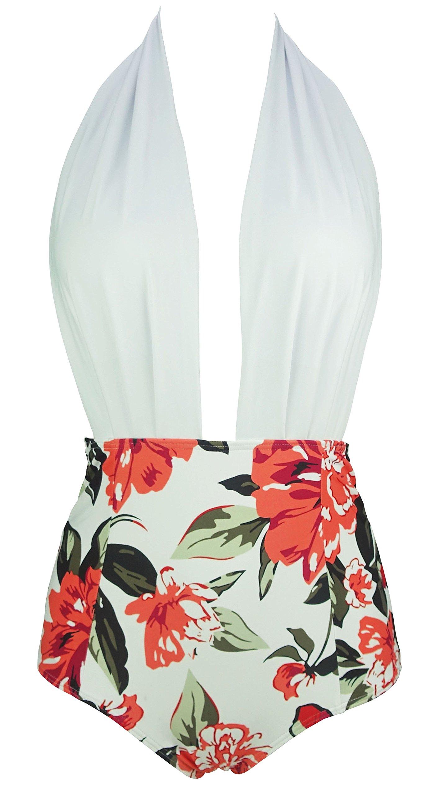 903117581d2ac1 Galleon - COCOSHIP White & Olive Orange Bloom Floral Plunging Neckline Retro  One Piece Backless Bather Swimsuit Pin Up Swimwear Beachwear XXXL