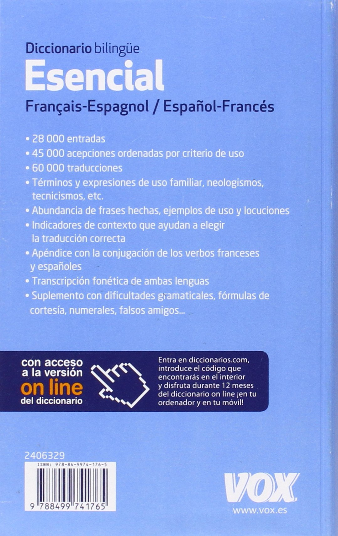 Diccionario Esencial Français Espagnol Español Francés Vox