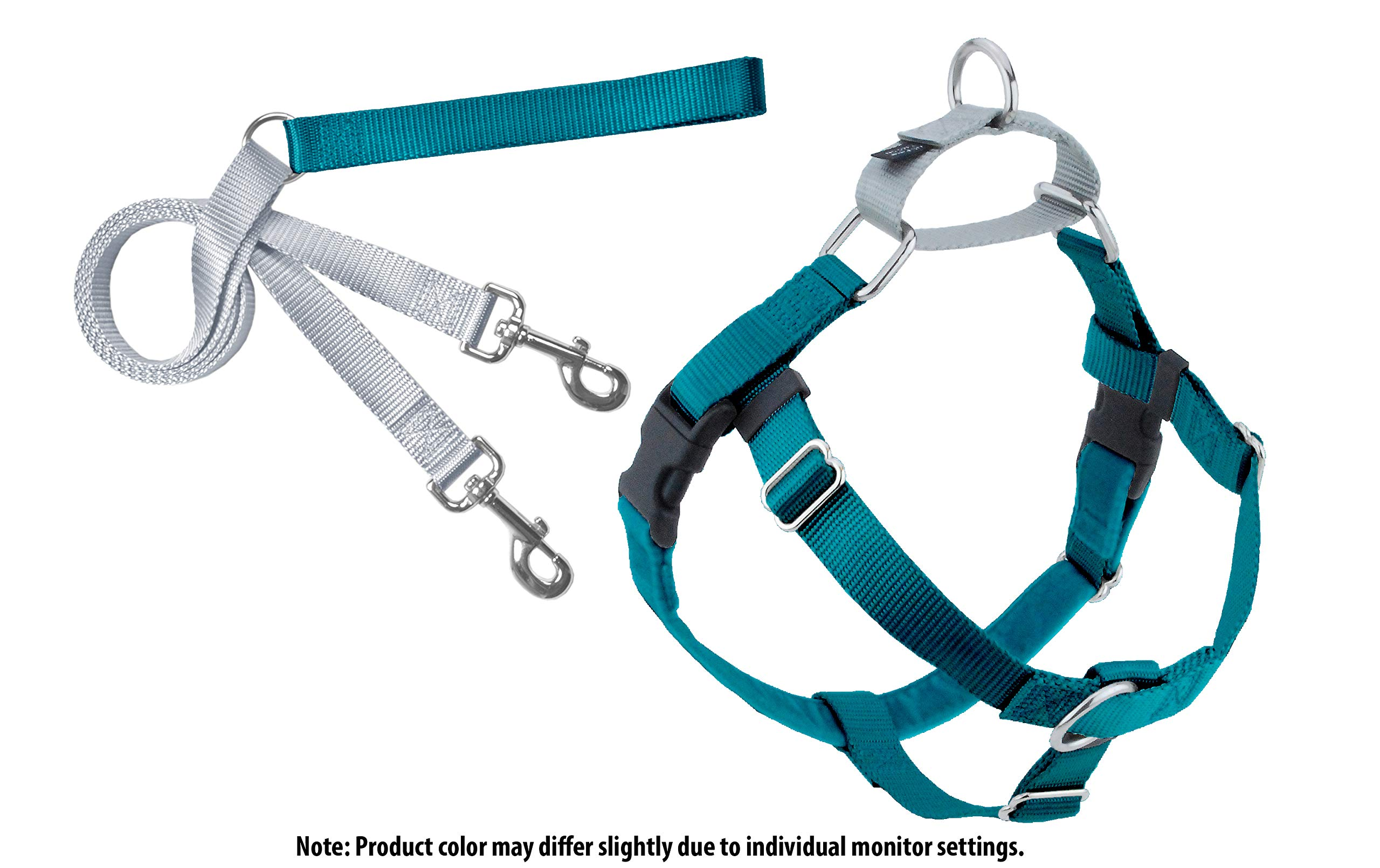 2 Hounds Design Freedom No-Pull Dog Harness and Leash, Adjustable Comfortable Control for Dog Walking, Made in USA (Medium 5/8'') (Teal)