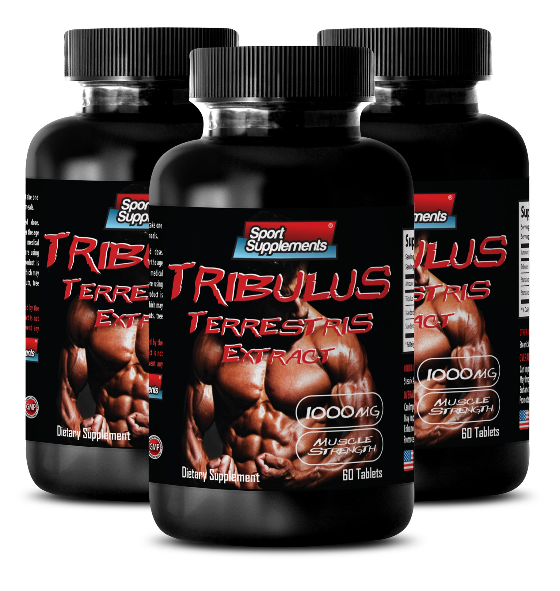 Male enchantment pills - TRIBULUS TERRESTRIS EXTRACT 1000mg with Standardized 400mg Natural Saponins - Boost Testosterone Naturally - 3 Bottles 180 Tablets by Sport Supplements