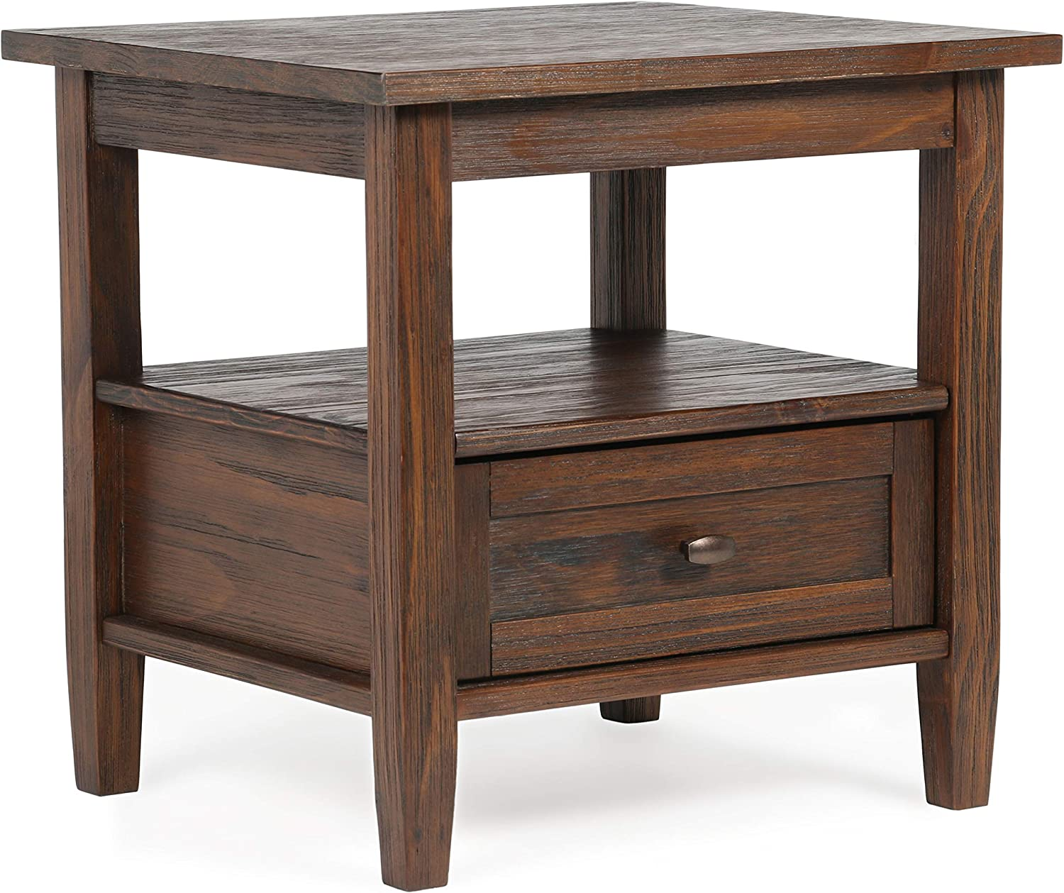 Simpli Home Warm Shaker End Table, 20 inch, Distressed Charcoal Brown