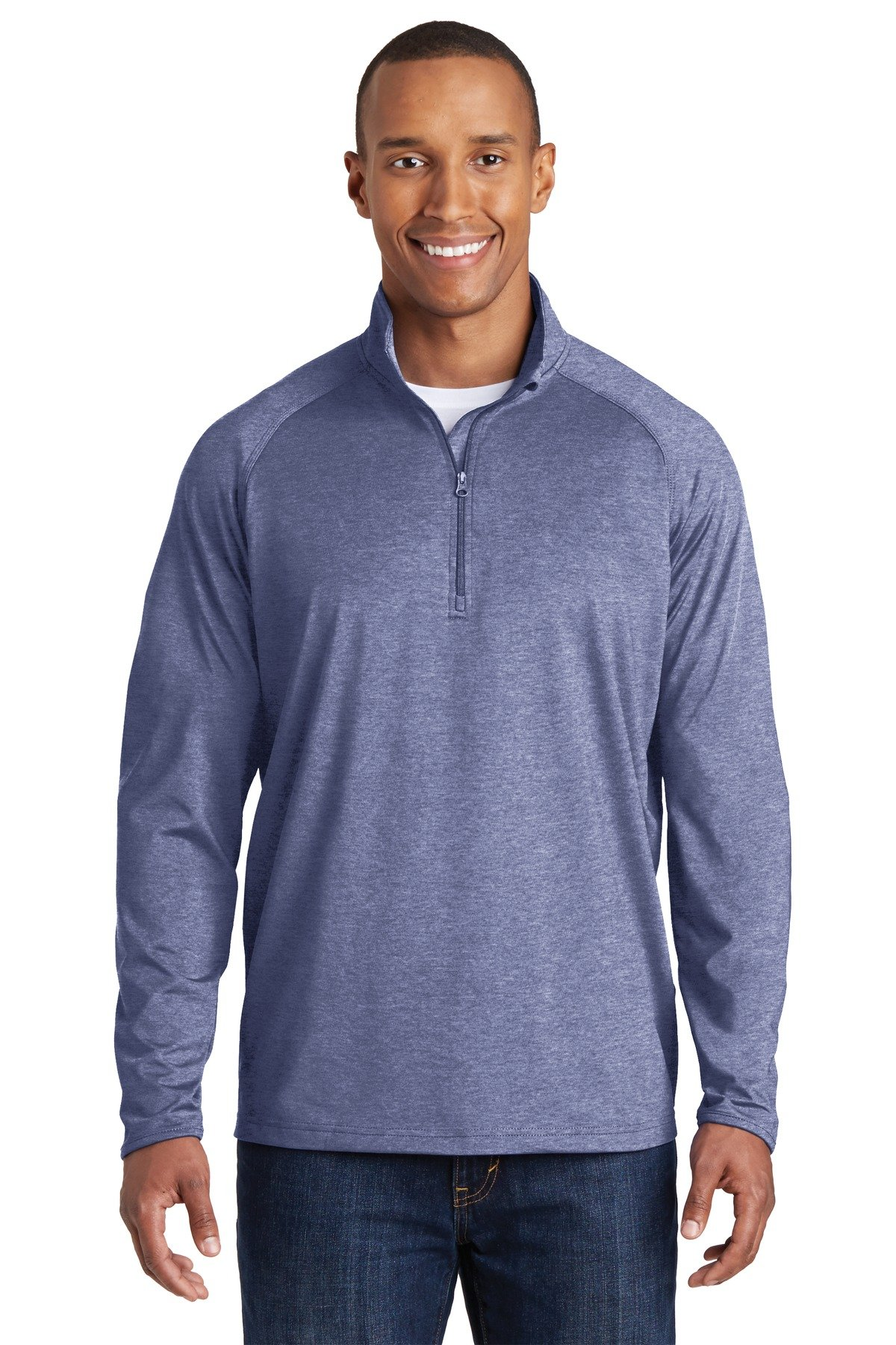 Sport-Tek 174 Sport-Wick 174 Stretch 1/2-Zip Pullover. ST850 3XL True Navy Heather by Sport-Tek