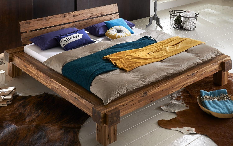 ... Nachtkommode In Warmem Braun, Bett In Natürlichem Design, Unikat Durch  Windrisse, Balkeneichenoptik Aus Akazien Holz Für Ihr Schlafzimmer Günstig  Kaufen
