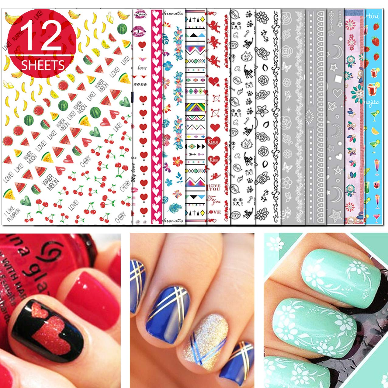 TailaiMei Nail Decals Stickers, 1600+ Pcs Self-Adhesive Tips DIY Nail Art Design Stencil (12 Large Sheets)