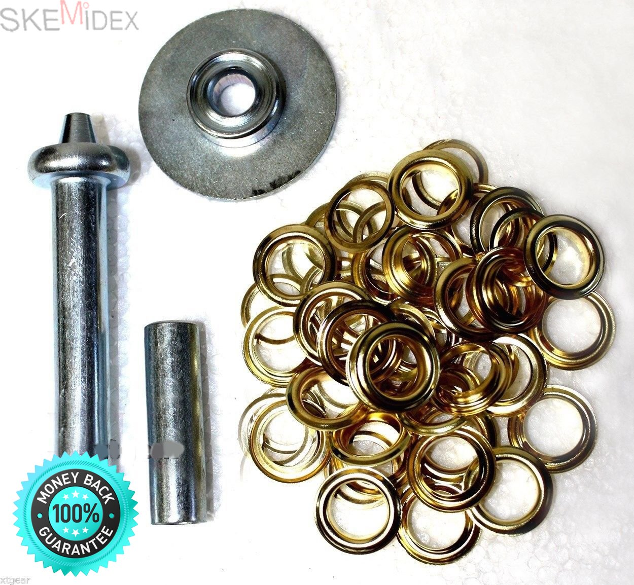 SKEMiDEX---60Pc X 1/2'' Grommet Punch Installation Kit With Brass Set Tarps Tool. For tents, sleeping bags, tarpaulins, awnings, pool covers, and many other Items using grommetted Construction