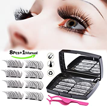 a2b6fdfc29c ... Eyelashes, Reusable 3D Full Eye Dual Magnetic False Eyelashes Set,  Handmade Soft Fake Lashes Extensions for Natural Look with Tweezers: Amazon. co.uk: ...