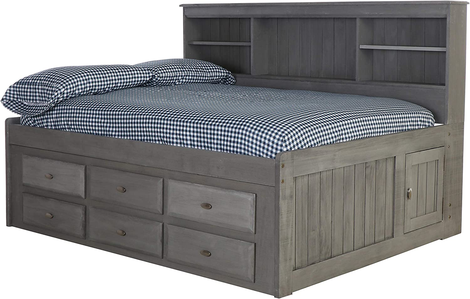 Discovery World Furniture Full Captain Day Bed with 6 Drawers - Charcoal