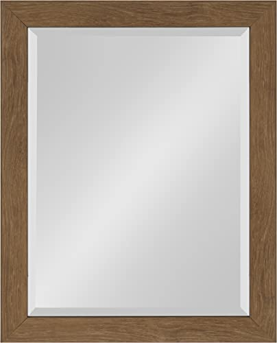 Kate and Laurel Scoop Framed Beveled Wall Mirror, 22×28, Midtone Brown