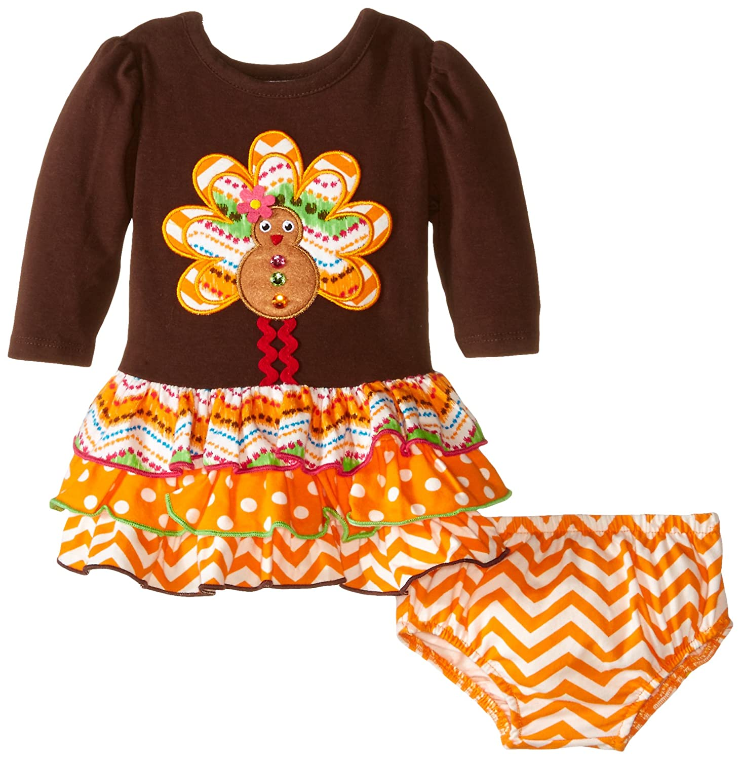 0b43484fdae53 Bonnie Baby Girls   Gingerbread Turkeyアップリケドレス 3 - 6 Months ブラウン B010PLTU3G