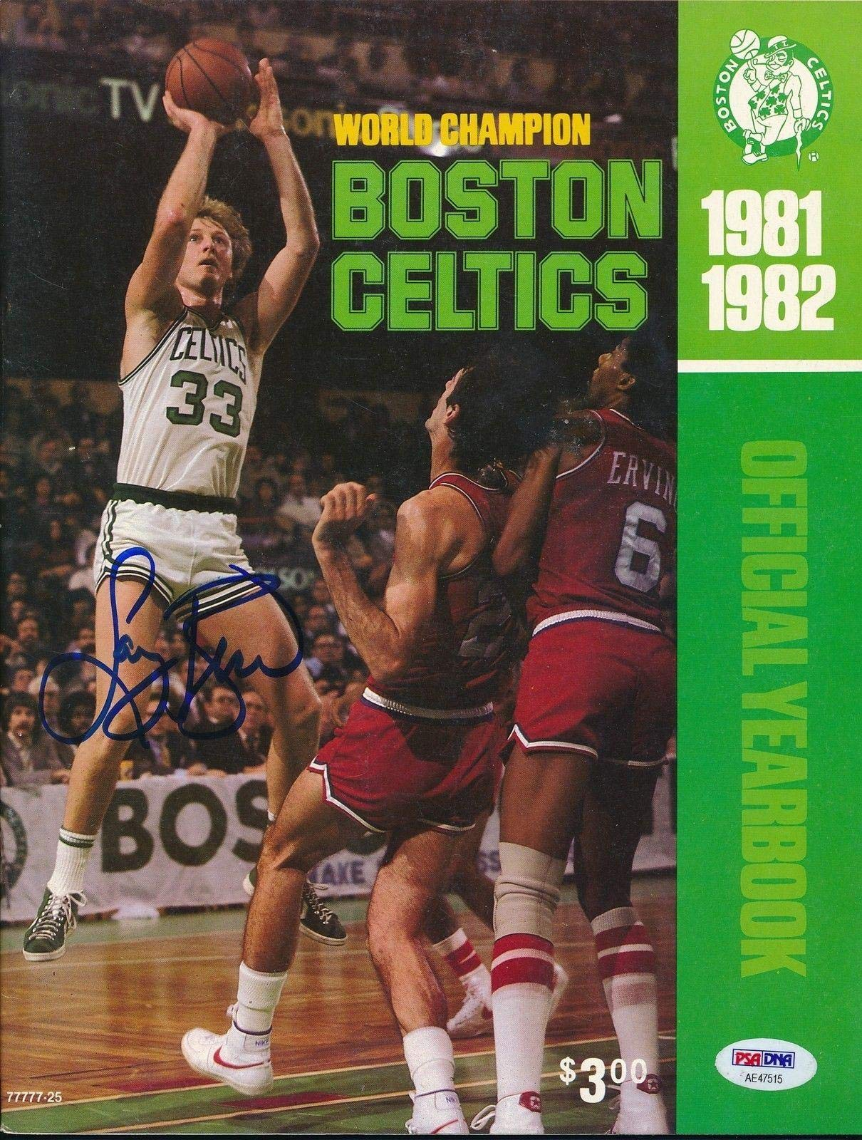Larry Bird Signed 1981/82 Celtics Yearbook Autograph Auto AE47515 PSA/DNA Certified Autographed NBA Magazines