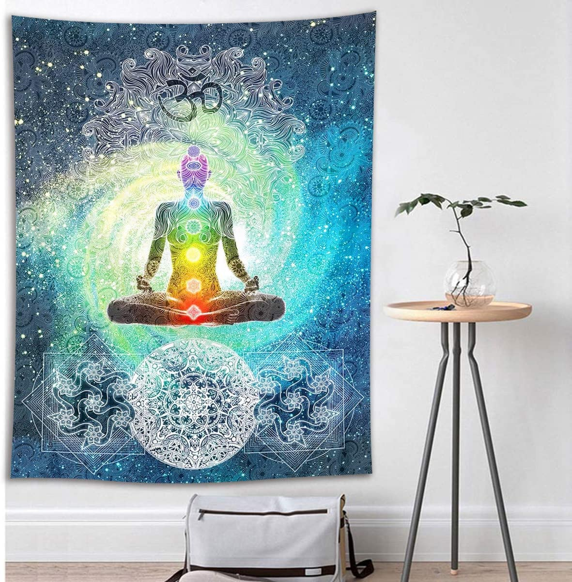 HVEST Yoga Tapestry Zen Meditation in Space Wall Hanging Mandala Tapestries for Bedroom Living Room Dorm Decor,60Wx80H inches