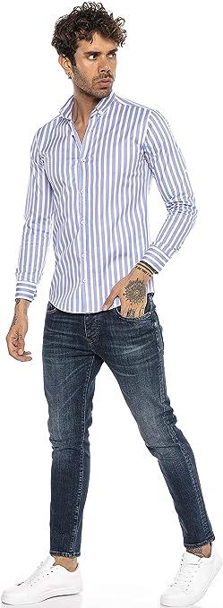 Redbridge Camisa Manga Larga con diseño a Rayas para Hombres