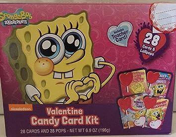 spongebob square pants valentines day cards candy school lollipop kit 28 cards and lollipops teachers card - Spongebob Valentines Day Cards